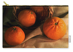 Carry-all Pouch featuring the photograph Basket Of Fresh Tangerines by Jaroslaw Blaminsky