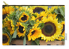 Carry-all Pouch featuring the photograph Basket Of Sunflowers by Chrisann Ellis
