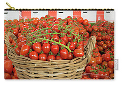 Carry-all Pouch featuring the photograph Basket With Red Tomatoes by Hans Engbers