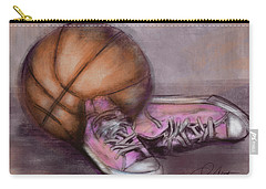 Basketball And Pink Shoes Carry-all Pouch by Dani Abbott