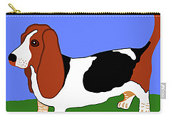 Cartoon Basset Hound In The Yard Carry-all Pouch