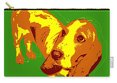 Carry-all Pouch featuring the digital art Basset Hound Pop Art by Jean luc Comperat