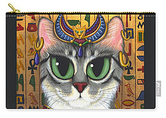 Carry-all Pouch featuring the painting Bast Goddess - Egyptian Bastet by Carrie Hawks