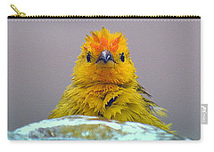 Carry-all Pouch featuring the photograph Bath Time Finch by Lori Seaman