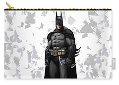 Carry-all Pouch featuring the mixed media Batman Splash Super Hero Series by Movie Poster Prints