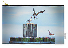 Carry-all Pouch featuring the photograph Battle Of The Gulls by Cindy Lark Hartman