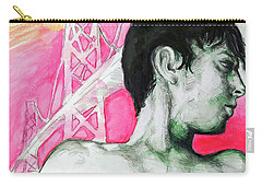 Carry-all Pouch featuring the painting Bay Bridge Anf Figure In Red by Rene Capone