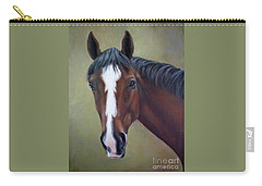 Bay Thoroughbred Horse Portrait Ottb Carry-all Pouch