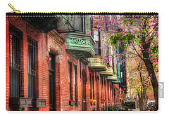 Bay Village Brownstones And Cherry Blossoms - Boston Carry-all Pouch by Joann Vitali