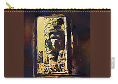 Carry-all Pouch featuring the painting Bayon IIi- Cambodian Ruins, Angkor Wat by Ryan Fox