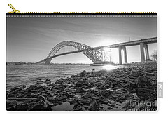Bayonne Bridge Black And White Carry-all Pouch by Michael Ver Sprill