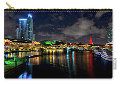 Bayside Miami Florida At Night Under The Stars Carry-all Pouch by Justin Kelefas