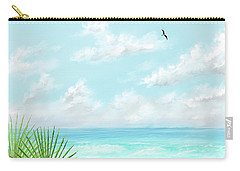 Carry-all Pouch featuring the digital art Beach And Palms by Darren Cannell
