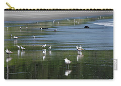 Carry-all Pouch featuring the photograph Beach Birds by Adria Trail