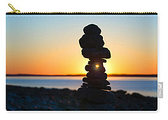 Beach Cairn At Sunrise Carry-all Pouch by Diane Diederich