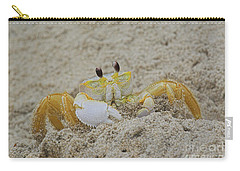 Beach Crab In Sand Carry-all Pouch by Randy Steele