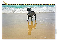 Carry-all Pouch featuring the photograph Beach Dog And Reflection By Kaye Menner by Kaye Menner