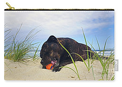Carry-all Pouch featuring the photograph Beach Dog - Rest Time By Kaye Menner by Kaye Menner