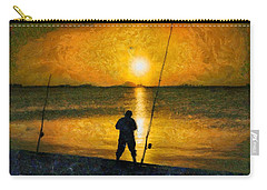 Carry-all Pouch featuring the photograph Beach Fishing  by Scott Carruthers