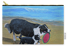 Carry-all Pouch featuring the painting Beach Frisbee by Fran Brooks