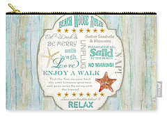 Beach House Rules - Refreshing Shore Typography Carry-all Pouch