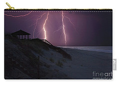 Beach Lighting Storm Carry-all Pouch by Randy Steele