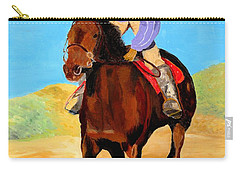 Carry-all Pouch featuring the painting Beach Rider by Rodney Campbell