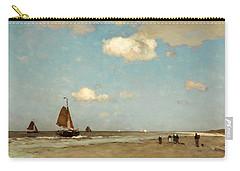 Beach Scene Carry-all Pouch by Jan Hendrik Weissenbruch
