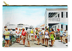 Carry-all Pouch featuring the painting Beach/shore II Boardwalk Beaufort Dock - Original Fine Art Painting by G Linsenmayer