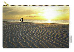 Beach Silhouettes And Sand Ripples At Sunset Carry-all Pouch