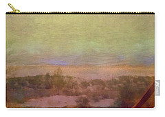 Carry-all Pouch featuring the digital art Beach Stairs With Hazy Sky by Michelle Calkins