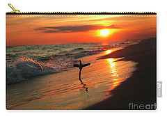 Beach Sunset And Cross Carry-all Pouch by Luana K Perez