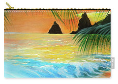 Carry-all Pouch featuring the painting Beach Sunset by Jenny Lee