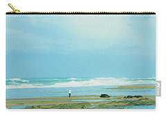 Carry-all Pouch featuring the photograph Beach Walk Painted by Mary Jo Allen