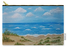 Carry-all Pouch featuring the painting Beach Waves by Sonya Nancy Capling-Bacle