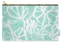 Carry-all Pouch featuring the mixed media Beachglass And White Flowers 2- Art By Linda Woods by Linda Woods