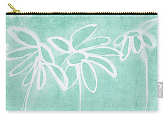 Carry-all Pouch featuring the mixed media Beachglass And White Flowers 3- Art By Linda Woods by Linda Woods
