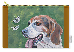 Carry-all Pouch featuring the painting Beagle And Butterflies by Lee Ann Shepard