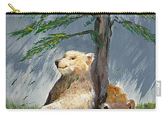 Bears And Tree Carry-all Pouch by Karen Ferrand Carroll