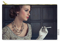 Beautiful 1930s Woman With Cocktail And Cigarette Carry-all Pouch