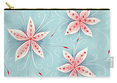 Beautiful Abstract White Red Flowers Carry-all Pouch