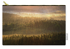 Beautiful Foggy Forest During Autumn Sunrise, Saxon Switzerland, Germany Carry-all Pouch