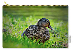 Carry-all Pouch featuring the photograph Beautiful Mama Duck by Linda Unger