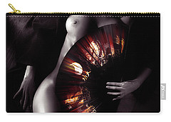 Beautiful Naked Woman Body Covered With Oriental Red Fan Artisti Carry-all Pouch