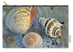 Beautiful Shells In The Surf Carry-all Pouch by D Hackett
