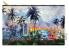 Beautiful South Beach Watercolor Carry-all Pouch by Jon Neidert