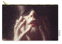 Beautiful Woman Photographed Behind A Window With Rain Drops Carry-all Pouch
