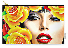 Beautiful Woman Yellow Roses Pop Art Carry-all Pouch