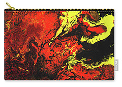 Beauty And The Beast - Powerful Red Yeellow And Black Abstract Art Painting Carry-all Pouch