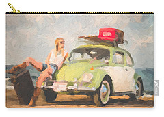 Carry-all Pouch featuring the digital art Beauty And The Beetle - Road Trip No.1 by Serge Averbukh